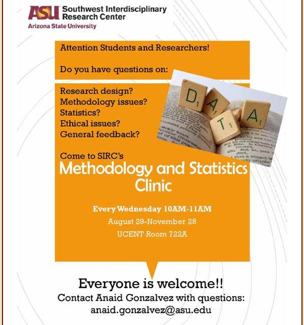 August 29-November 28: Methodology and Statistics Clinic