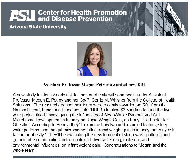 Assistant Professor Megan Petrov awarded new R01 | Center for Health  Promotion and Disease Prevention